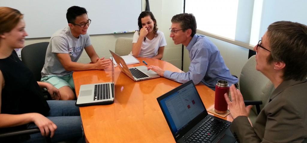 2015-2016 Senior Design Team members** discuss their ideas with Professors Winey and Composto. **(left to right: Gracie Salmon, Jason Woo, Sonya Kripke)