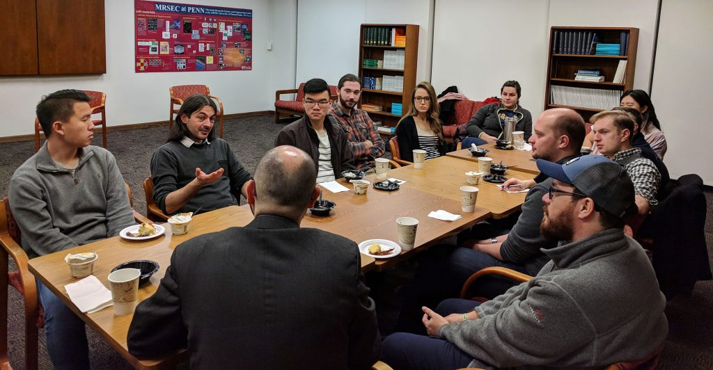 D. Riassetto, P. Rannou and REACT Fellows discuss tips for success in a new lab as a visiting researcher.
