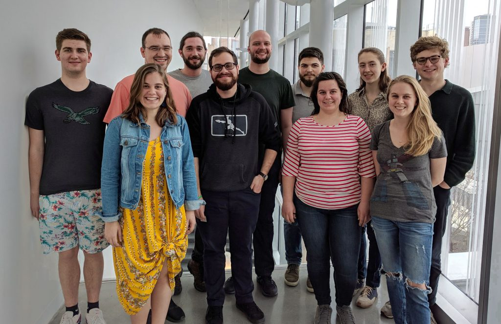REACT students who have been to France or are going to France, as well as one French PhD student working with the Winey Lab (April 9, 2019)